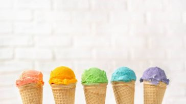 The various types of ice cream.