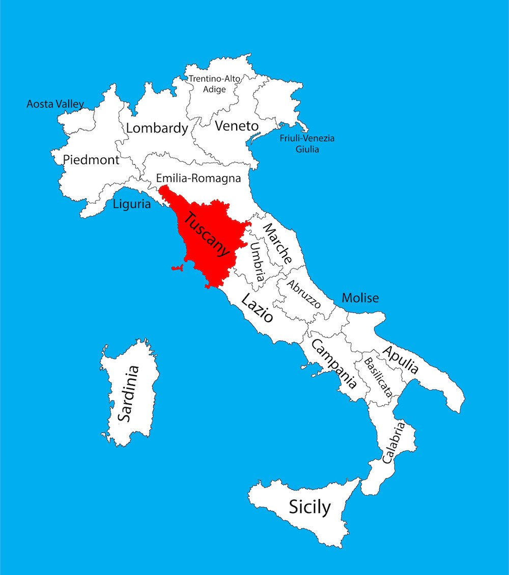 Map of Italy with Tuscany Highlighted