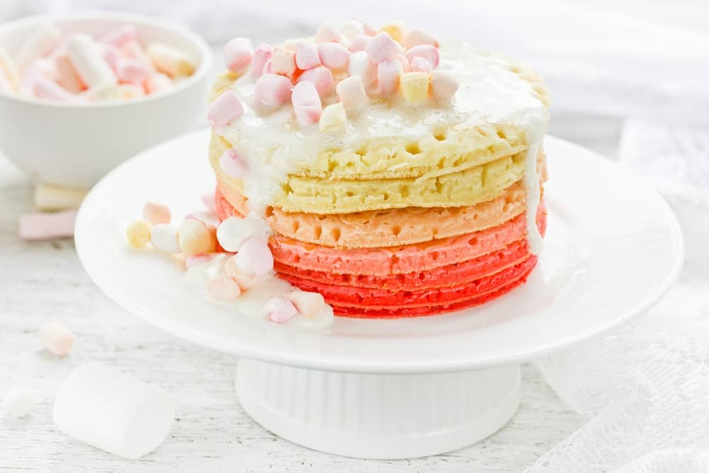 Colorful marshmallow frosted cake