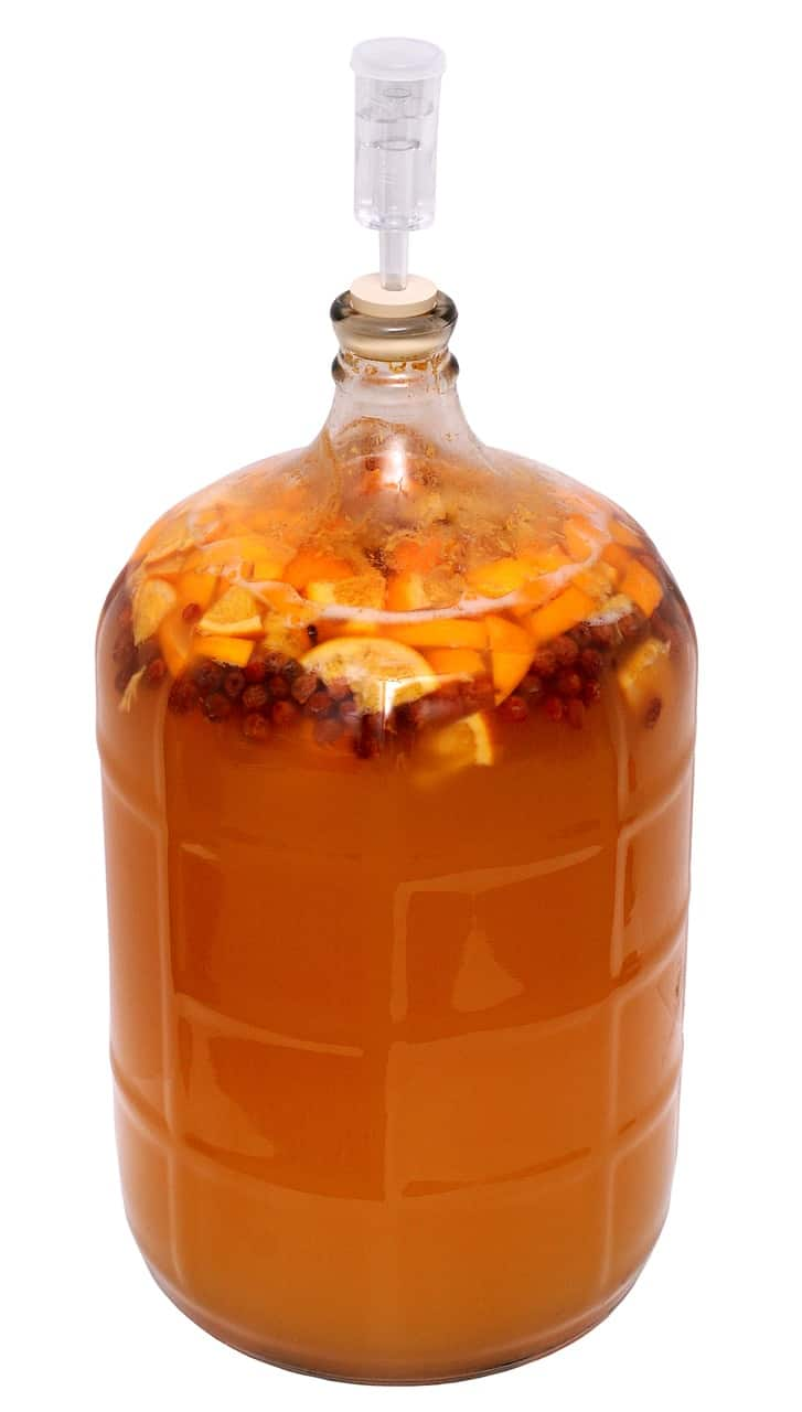 A batch of homemade fruit mead or melomel mead brewing in a jar.