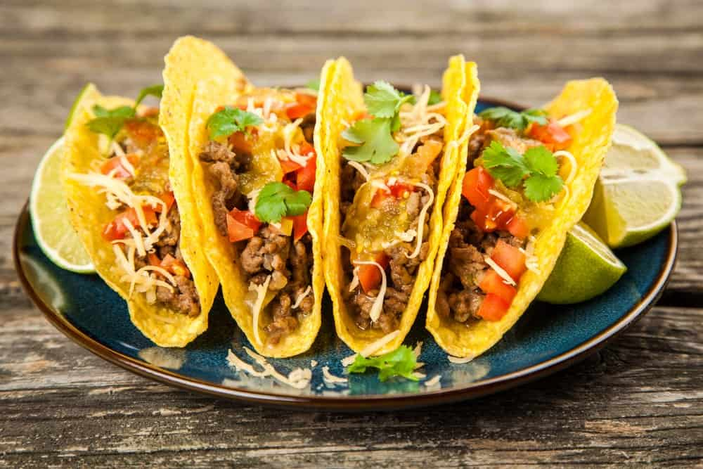 Tacos loaded with beef and vegetables