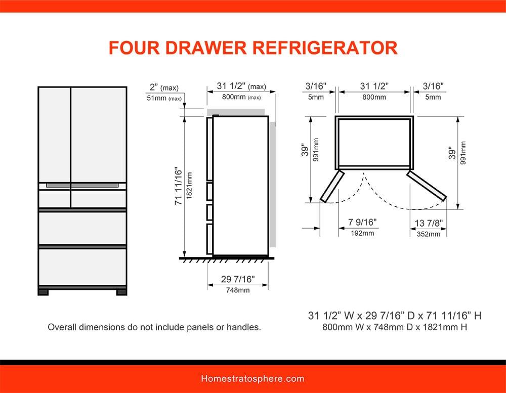 01 Four Drawer Refrigerator