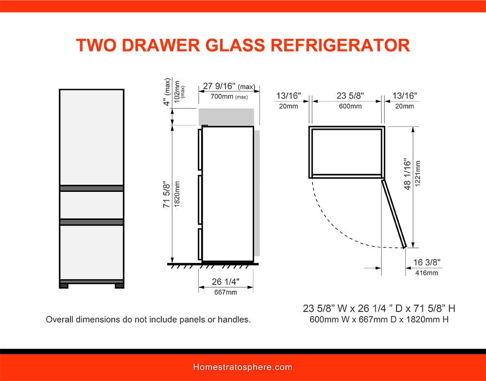 05 Two Drawer Glass Refrigerator