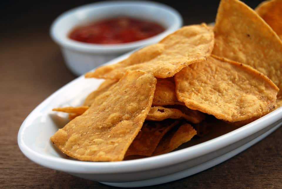 A plate of tortilla chips