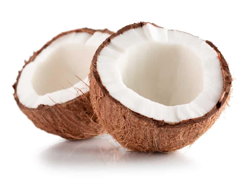 A coconut cut in half.