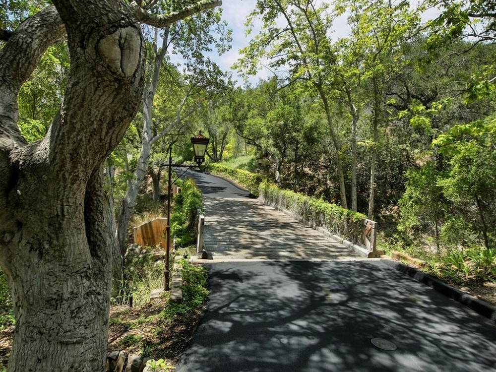 This is the view of the driveway that crosses the pond through a concrete bridge that is surrounded by tall trees. Images courtesy of Toptenrealestatedeals.com.