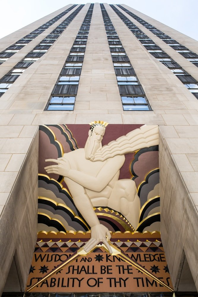 An art deco piece displayed at the entrance of 30 Rockefeller Plaza.