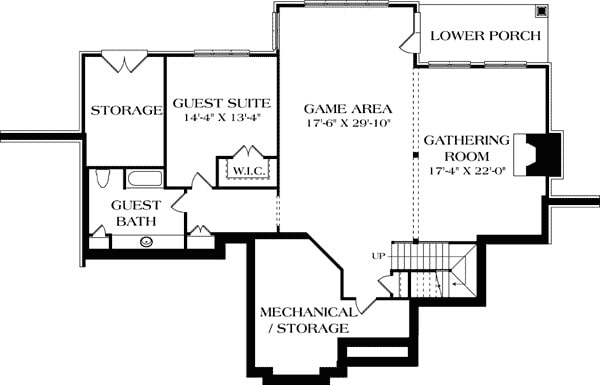 Basement floor plan with gathering room, guest suite and bath, game area with access to the lower porch and lots of storage space.