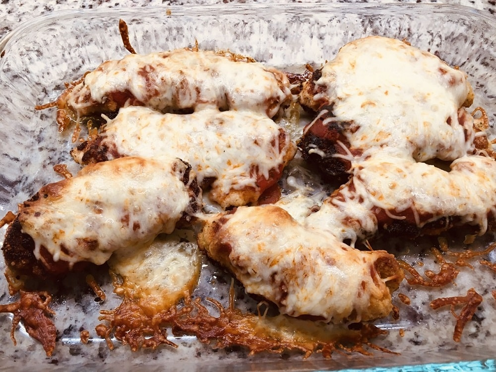 Chicken parmesan fresh off the oven.