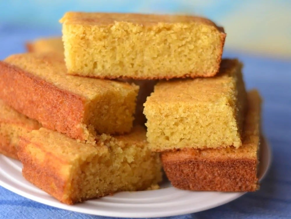 A plate of stacked cornbread.