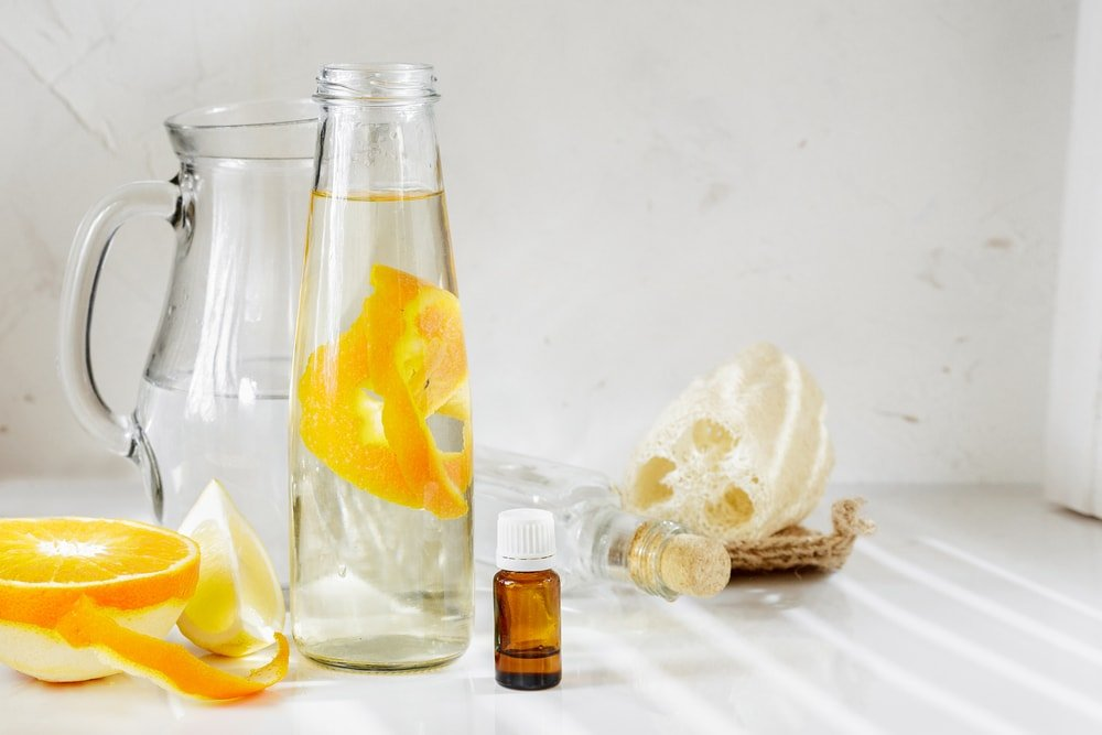 Various natural ingredients for a DIY all-purpose cleaner.