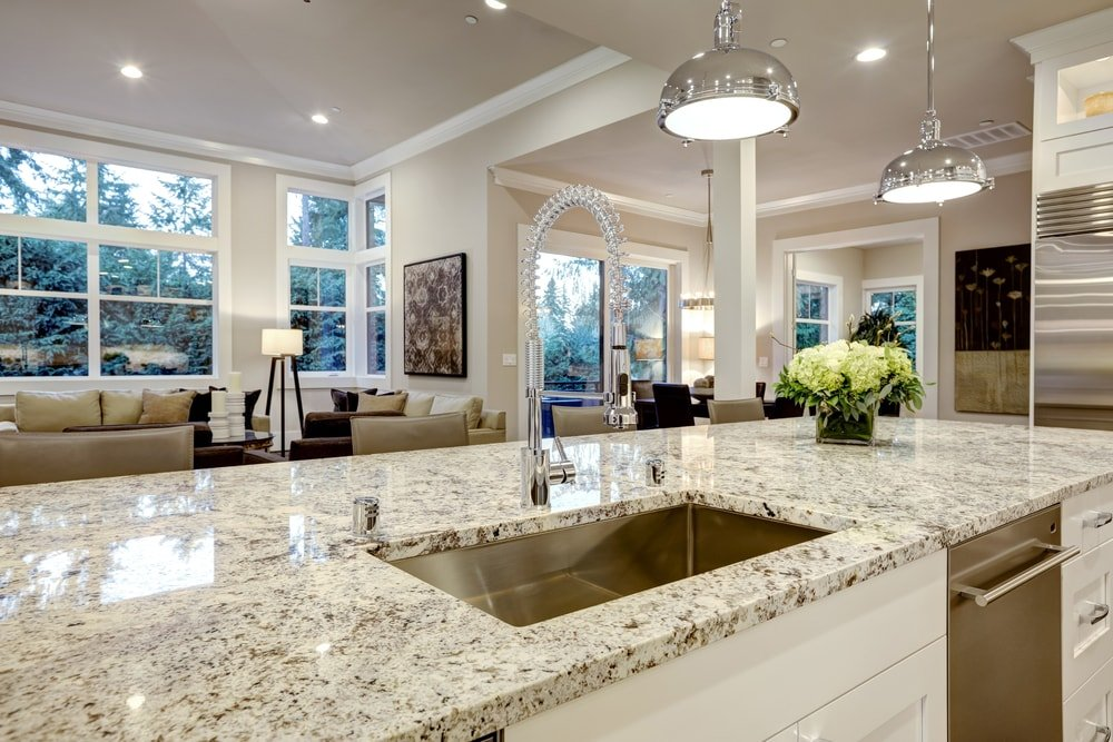 A close up of the kitchen island's granite countertop.