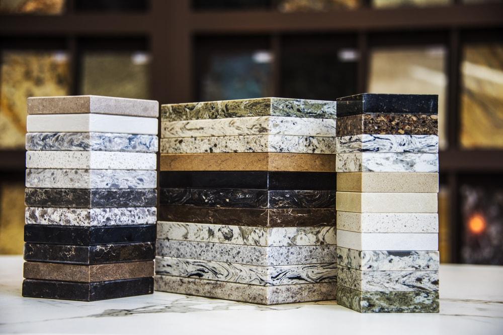 Samples of countertop granite, marble and quartz.