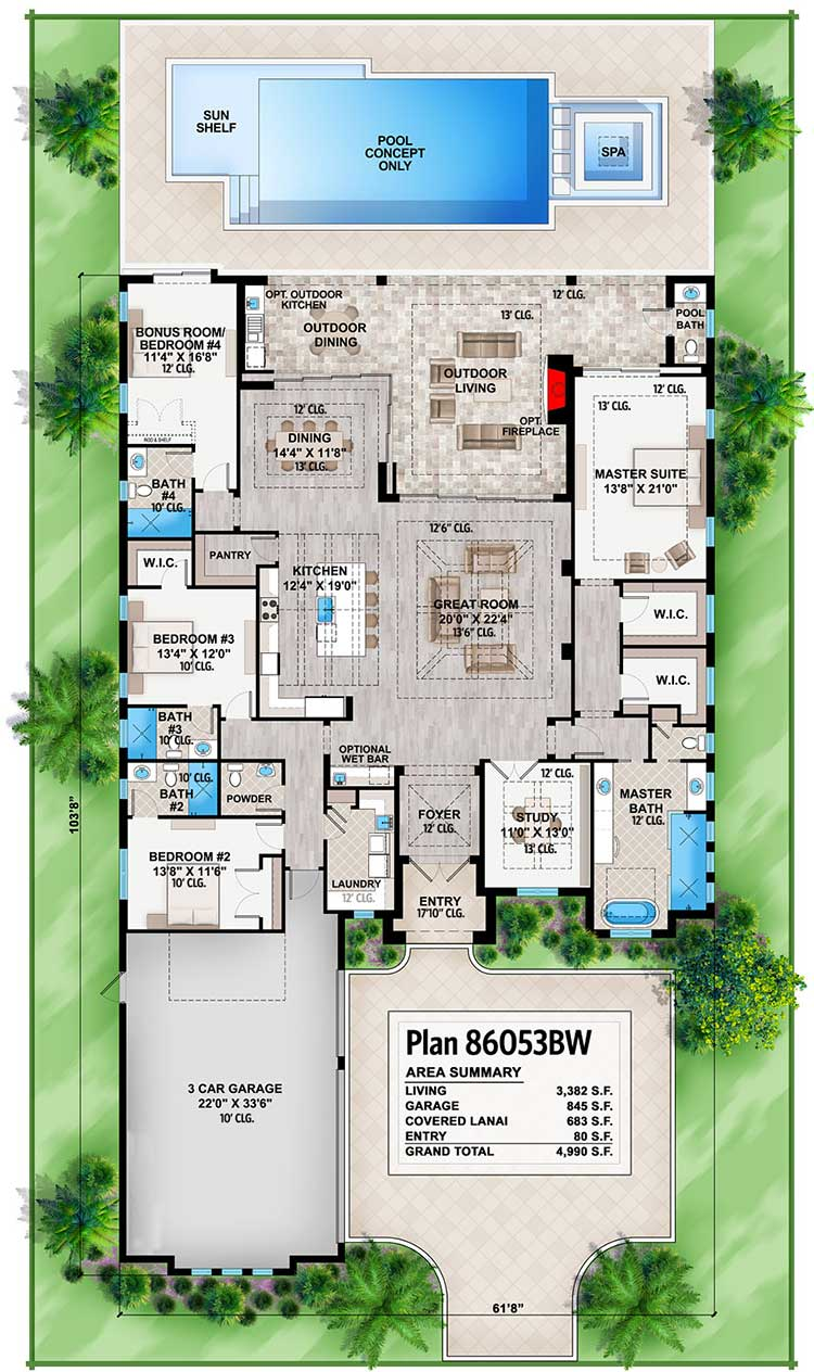 Entire level floor plan of a 4-bedroom single-story Southern contemporary home with great room, kitchen, laundry room, study, three bedrooms, and a primary suite with access to the outdoor living.