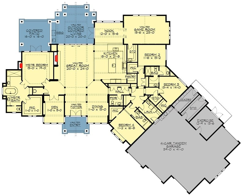 Main level floor plan of a single-story 4-bedroom craftsman home with great room, formal dining room, a den, kitchen with pantry and breakfast nook, three bedrooms, and a primary suite with private access to the covered patio. It includes a 4-car garage complete with lockers, storage, and an exercise room.