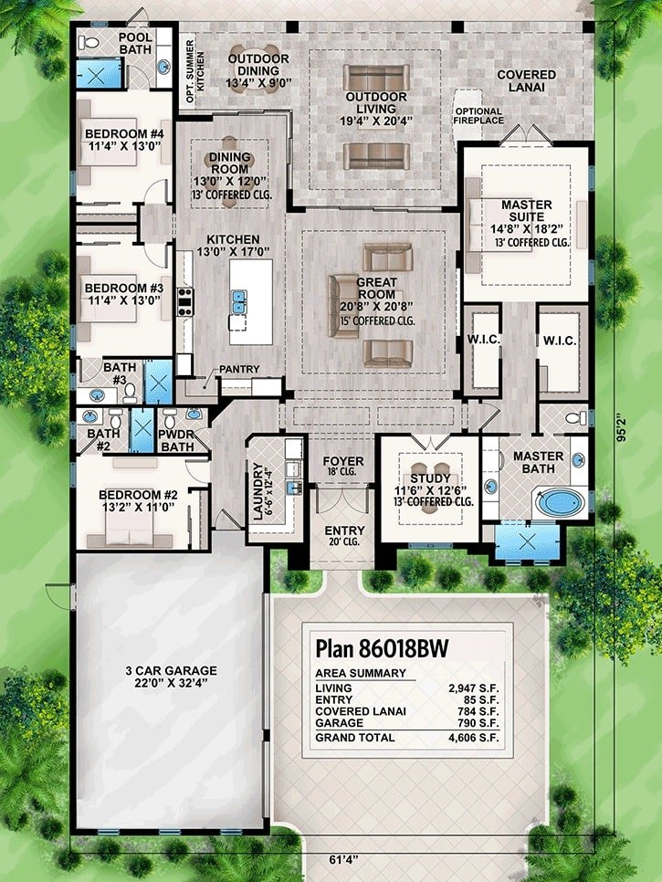 Entire floor plan of a single-story 4-bedroom Florida home with coffered study, great room, shared dining and kitchen, laundry room, four bedrooms, and covered lanai filled with outdoor dining and living.