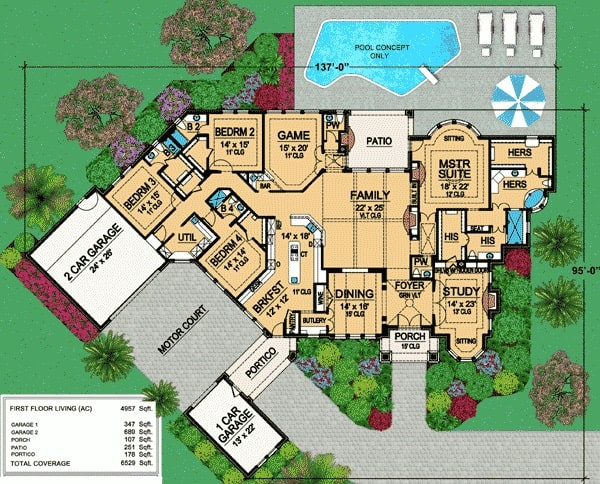 Main level floor plan of a single-story 4-bedroom Tudor home with study, formal dining room, family room, game room, and four bedrooms including the primary suite with his and her bathrooms.