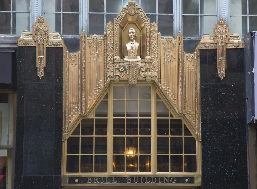 Art deco facade of Brill building in Manhattan, NY.