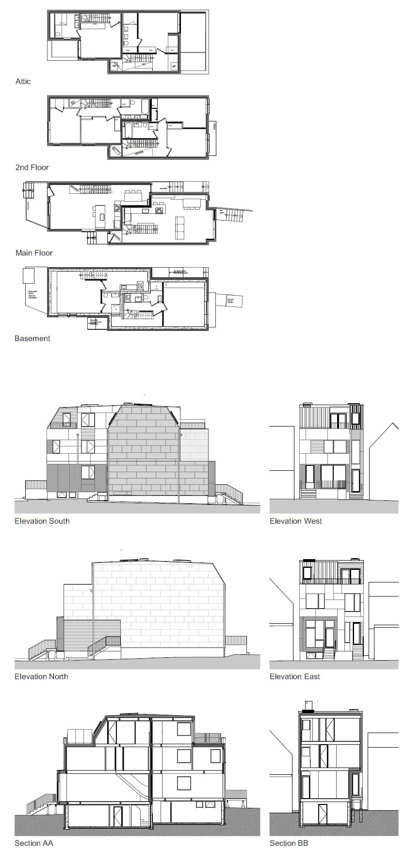 This is an illustration of the floor plan for the house's levels. It also shows the different elevations to give you a better grasp of the entire home.