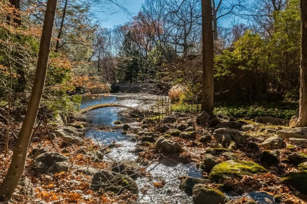 This is a charming view of the river with a lovely little bridge surrounded by tall trees and natural rock formations that add charm to the landscape. Images courtesy of Toptenrealestatedeals.com.