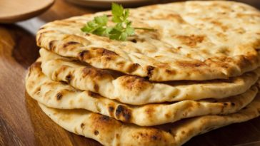 Freshly baked Indian naan flatbread.