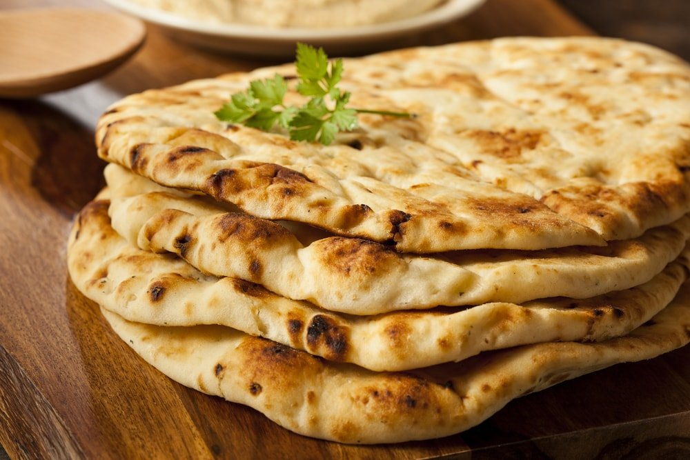 Freshly baked Indian naan flatbread.