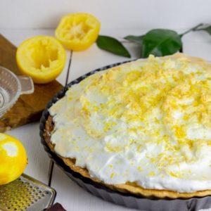 A lemonade pie with meringue on top.
