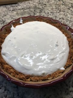 The mixed filling placed on the crust.