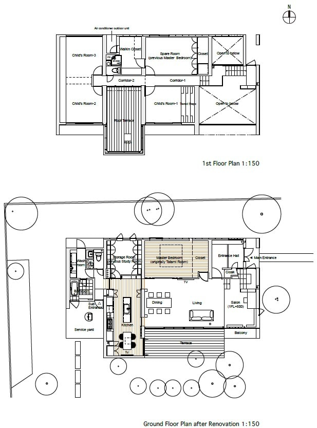 This is an illustration of the floor plan of the house showing its two levels and the different sections of the house.