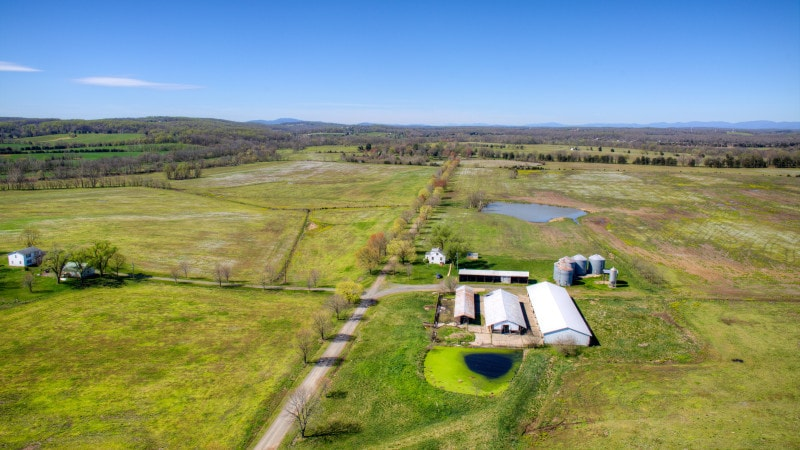 This is an aerial view of the agricultural structures of the farm. Images courtesy of Toptenrealestatedeals.com.
