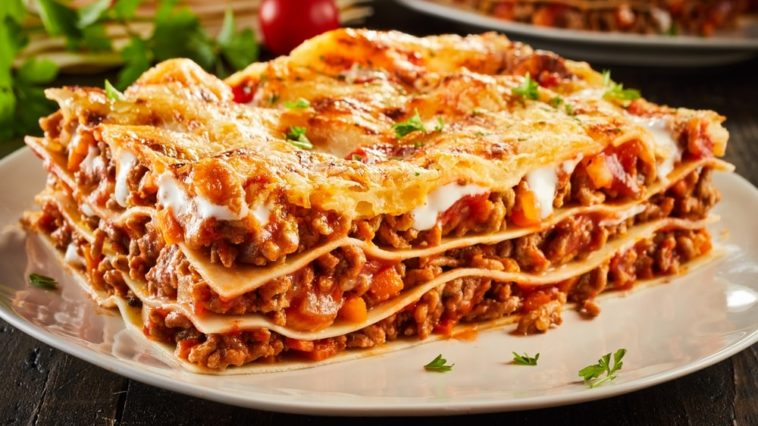 A plate of meaty homemade lasagna.