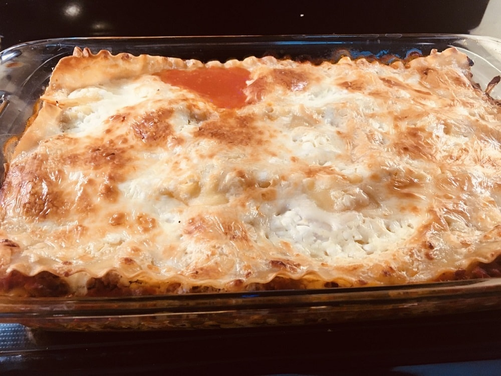 A freshly baked batch of homemade lasagna.