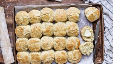 A pan of freshly baked homemade southern biscuits.