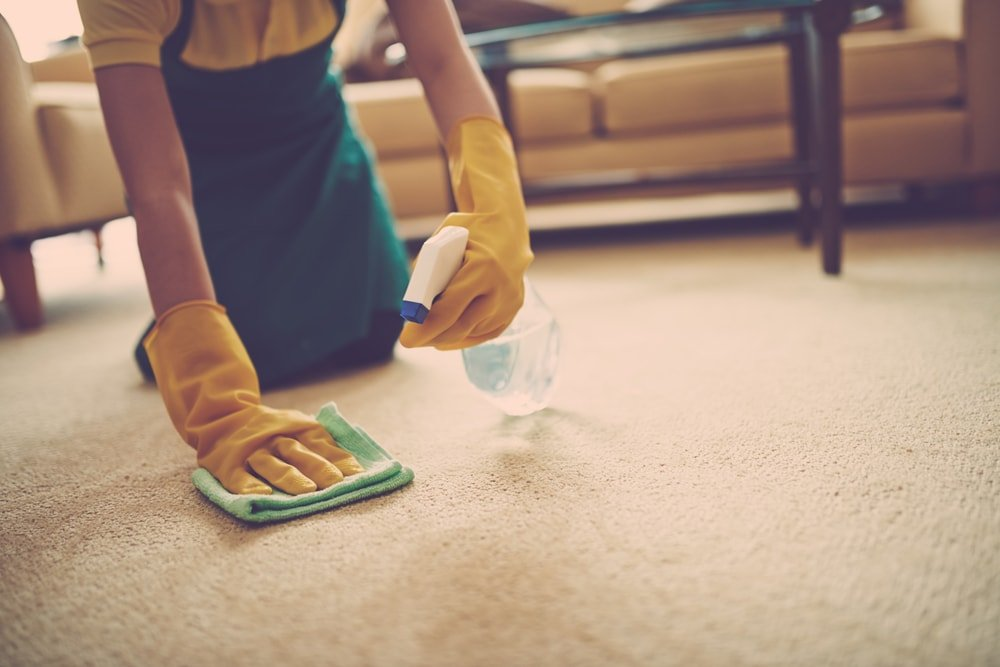 A gloved woman cleaning the carpet with the use of a rag and a spritzer.