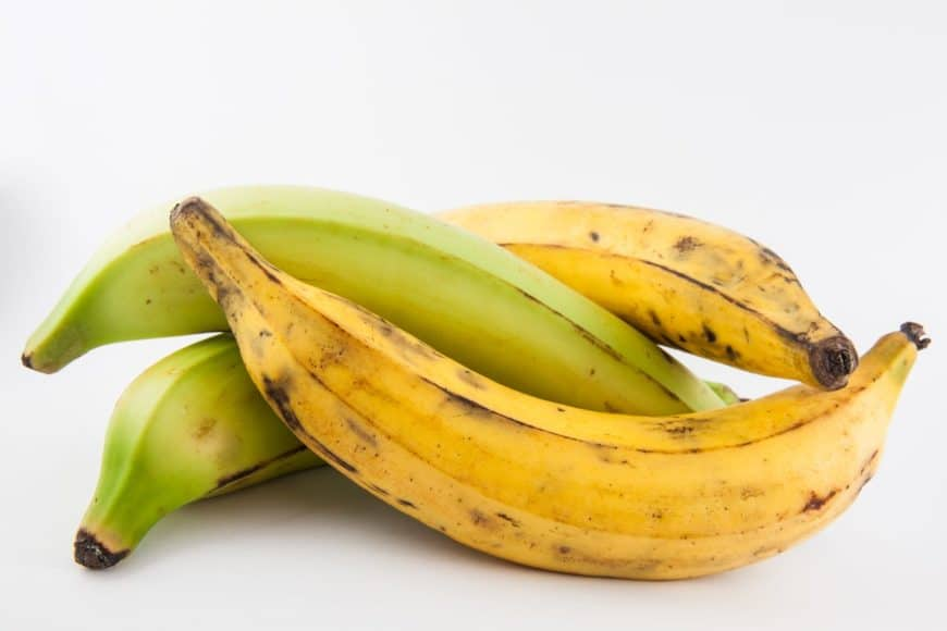 Four pieces of plantains on a white background.