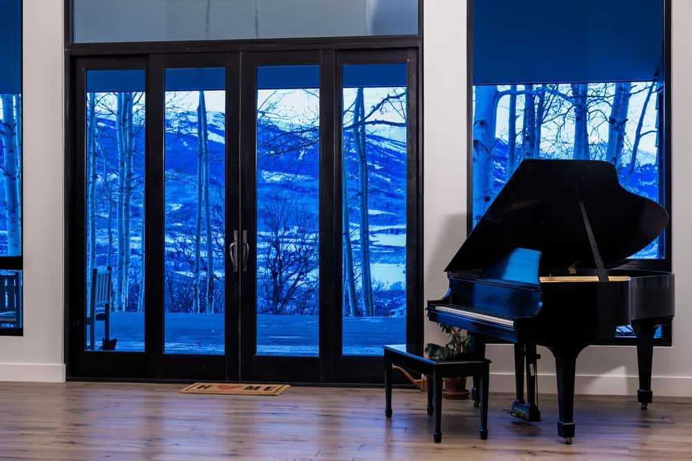 This is the elegant and welcoming foyer with glass walls and glass doors to brighten the white walls and hardwood flooring. These go well with the black glass door frames and the black grand piano on the side.
