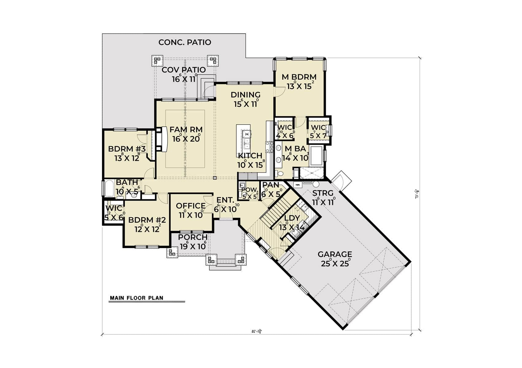 Entire floor plan of a single-story 3-bedroom Northwest 614 craftsman style home with family room, shared dining and kitchen, office, laundry, covered patios, and three bedrooms including the primary suite.