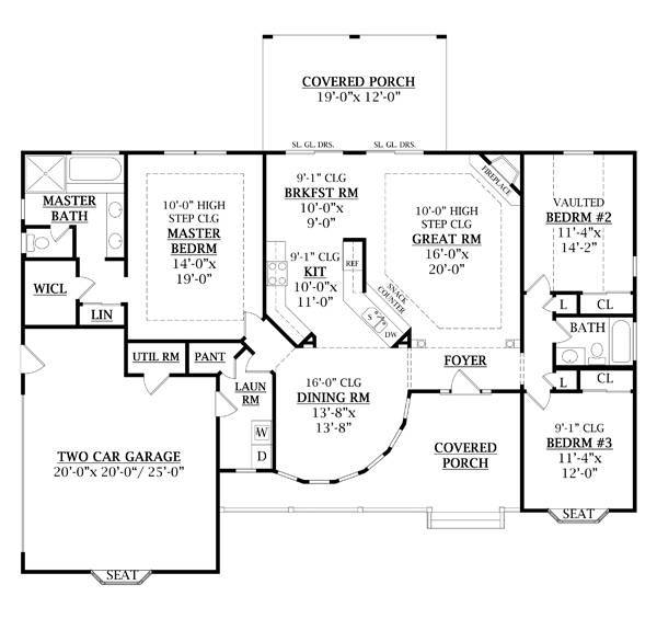 Main level floor plan of a 3-bedroom single-story Jasper II home with great room, kitchen, dining toom, breakfast nook, laundry, and three bedrooms including the primary suite.