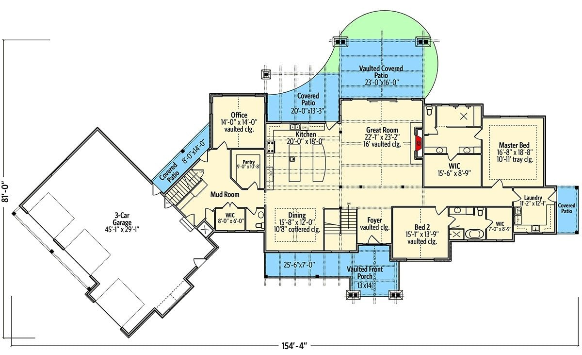Main level floor plan of a 3-bedroom single-story mountain ranch home with great room, shared dining and kitchen, office, mudroom, laundry area, and two bedrooms including the primary suite.