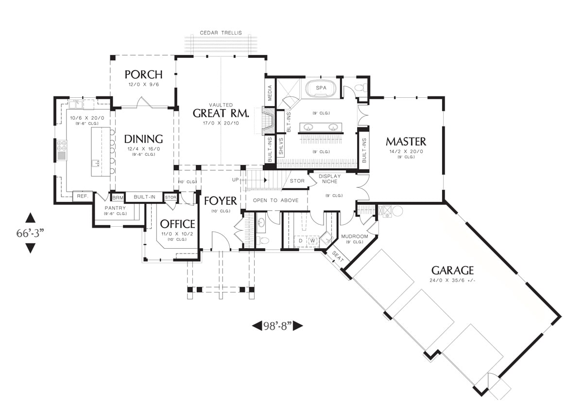 Main level floor plan of a 3-bedroom two-story Ira home with an angled garage, vaulted great room, office, primary suite, and shared dining and kitchen that opens to the back porch.