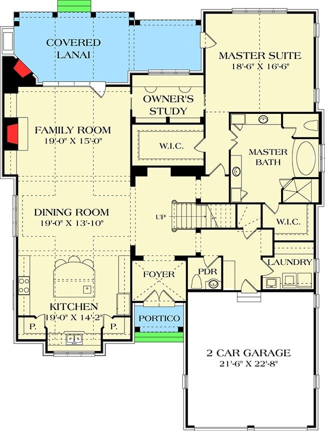 Main level floor plan of a 3-bedroom two-story Tudor home with a family room, eat-in kitchen, powder room, laundry room, and a primary suite with two walk-in closets and a private study.