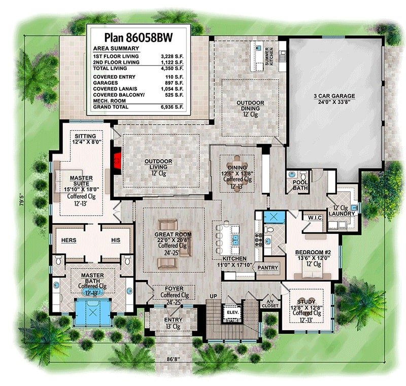 Main level floor plan of a 4-bedroom two-story contemporary home with great room, study, kitchen, two bedrooms including the primary suite, laundry room, and rear outdoor space with summer kitchen, living, and dining.