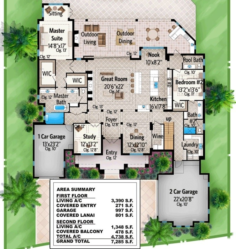 Main level floor plan of a 4-bedroom two-story Florida home with formal dining, study, kitchen, great room, two bedrooms including the master bath, and a covered lanai with outdoor living and dining.