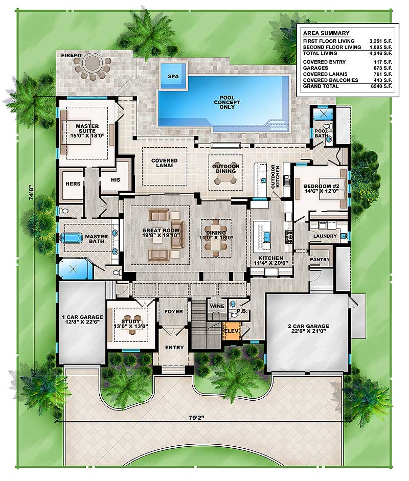 The main level floor plan of a 4-bedroom two-story grand Florida home with great room, shared kitchen and dining, study, wine cellar, one bedroom, and a primary suite with lanai access.
