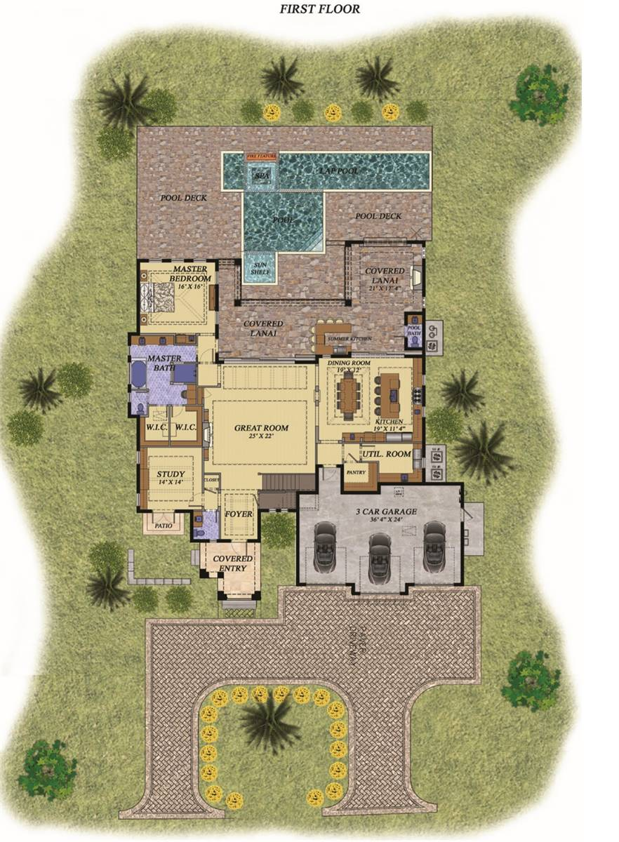 Main level floor plan of a 4-bedroom two-story Lotus Mediterranean home with great room, study, utility room, shared kitchen and dining, primary suite, and covered lanai with summer kitchen and a pool bath.