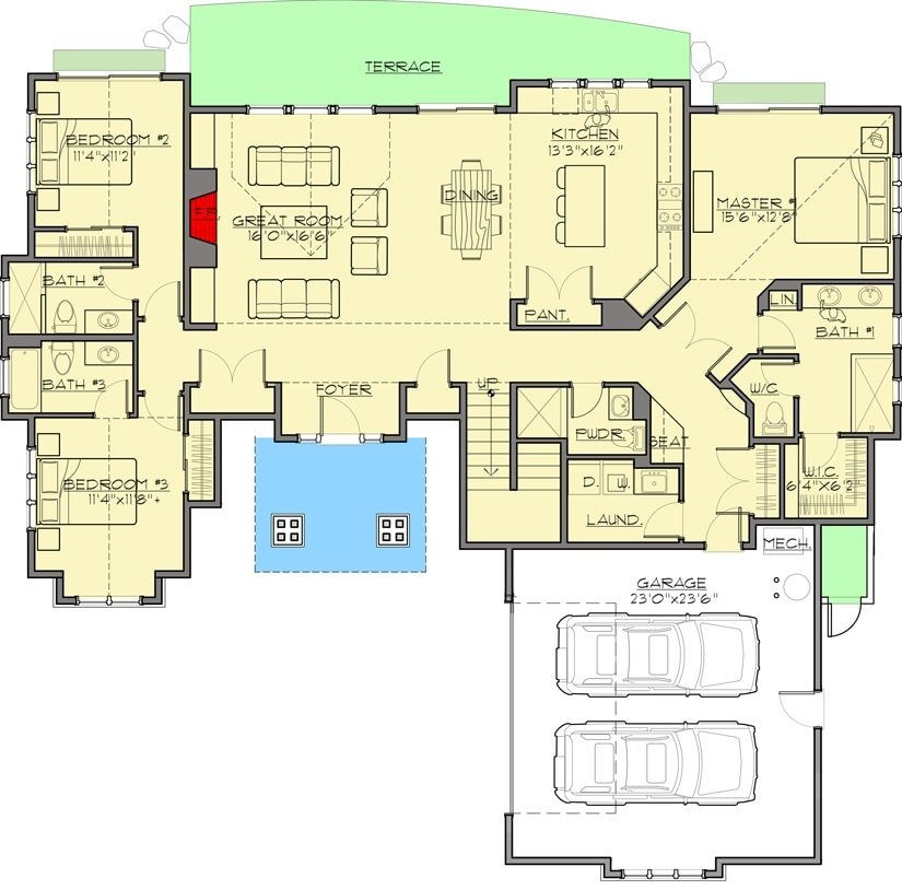 Main level floor plan of a 4-bedroom Two-Story mountain craftsman home with great room, shared dining and kitchen, laundry, two bedrooms, and a primary suite with direct access to the rear terrace.