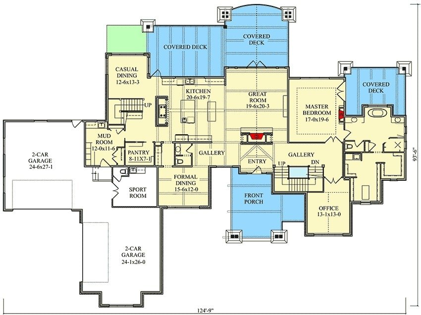 Main level floor plan of a 4-bedroom two-story mountain home with a great room kitchen, formal dining room, casual dining, office, and a primary suite with private rear deck access.
