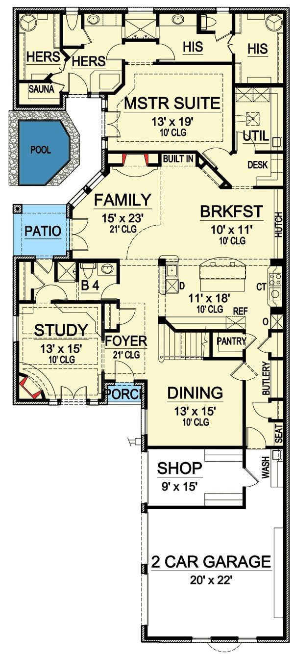 Main level floor plan of a 4-bedroom two-story narrow Tudor home with study, family room, kitchen with breakfast nook, primary suite, and a 2-car garage with shop and wash area.