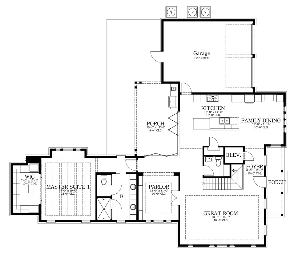 Main level floor plan of a 4-bedroom two-story White Horse home with a great room, shared kitchen and dining, parlor, primary suite, and covered porches.