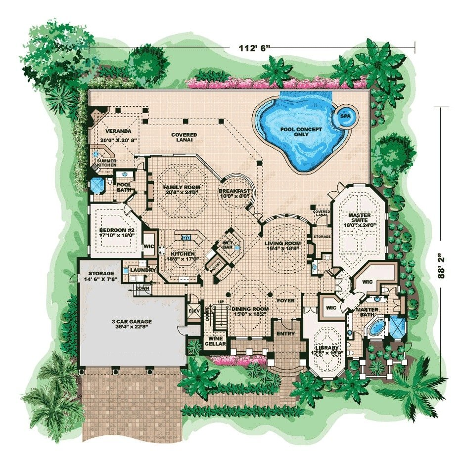 Main level floor plan of a 5-bedroom two-story Mediterranean home with living room, formal dining room, library, wine cellar, master suite, a bedroom, family room. and kitchen with lanai access.